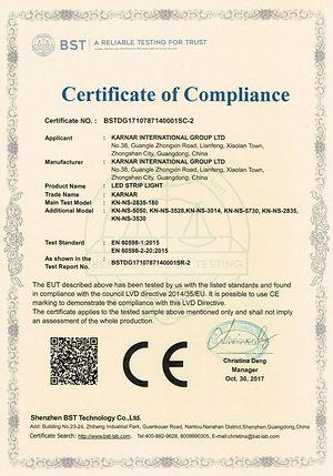 證書 卡爾納國際集團有限公司