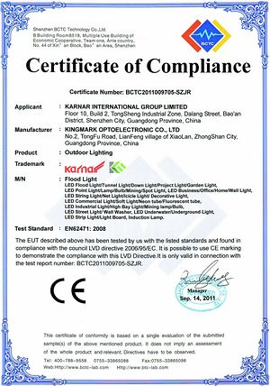 Certificate KARNAR INTERNATIONAL GROUP LTD