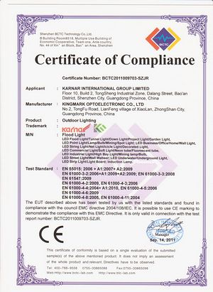 Certificate KARNAR INTERNATIONAL GROUP LTD